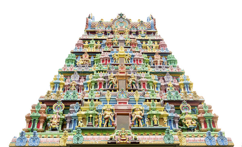 Sri Krishnan Temple Front Door. Isolated with many gods statues royalty free stock image