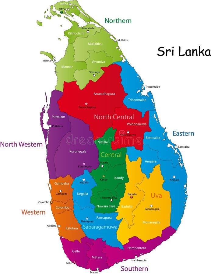 Sri Lanka översikt royaltyfri illustrationer