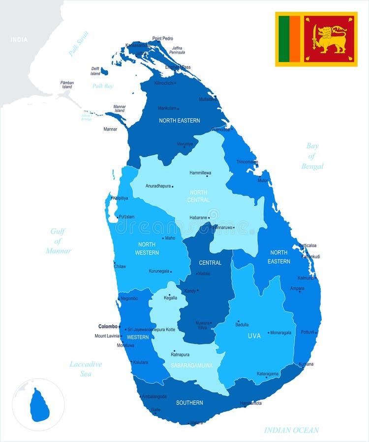 Sri Lanka - översikt och flagga - detaljerad vektorillustration stock illustrationer