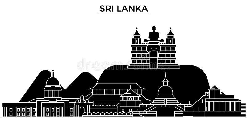Sri Lanka architektury miasta wektorowa linia horyzontu, podróż pejzaż miejski z punktami zwrotnymi, budynki, odosobneni widoki n royalty ilustracja