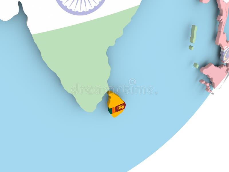 Sri Lanka con la bandera ilustración del vector