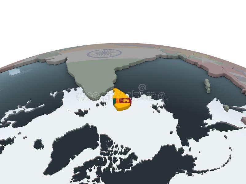 Sri Lanka con la bandera en el globo stock de ilustración