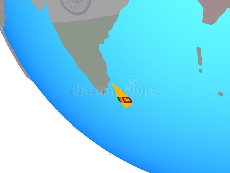 Sri Lanka con la bandera en el globo ilustración del vector