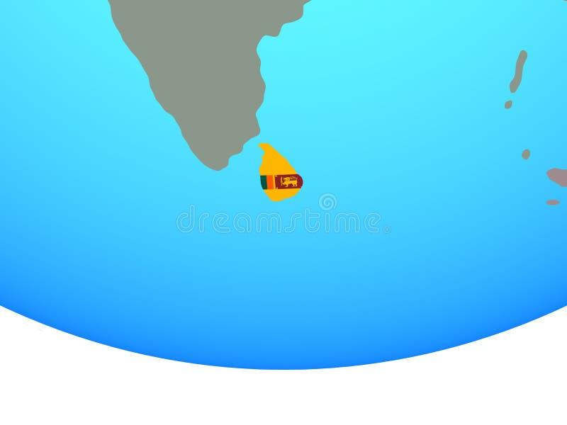Sri Lanka con la bandera en el globo libre illustration
