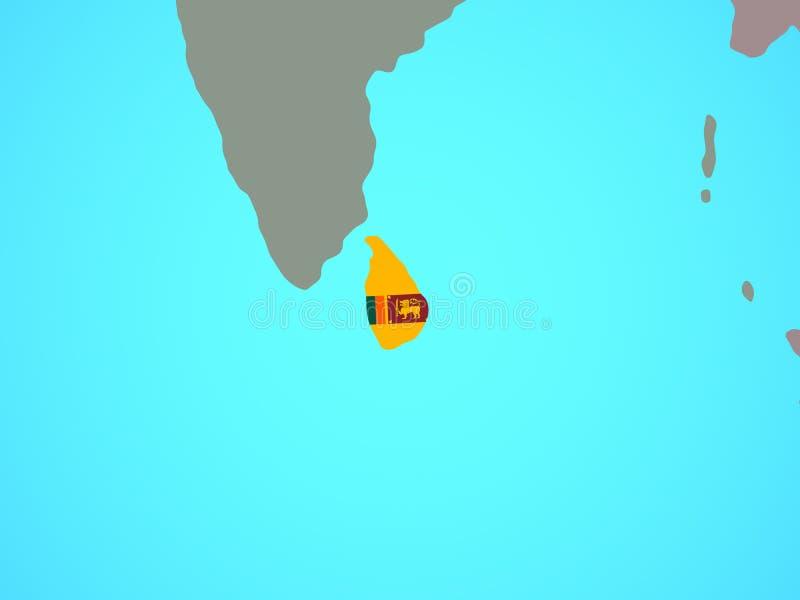 Sri Lanka con la bandera en mapa stock de ilustración