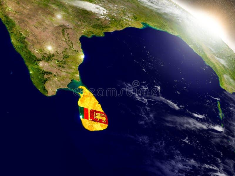 Sri Lanka con la bandera en sol naciente ilustración del vector