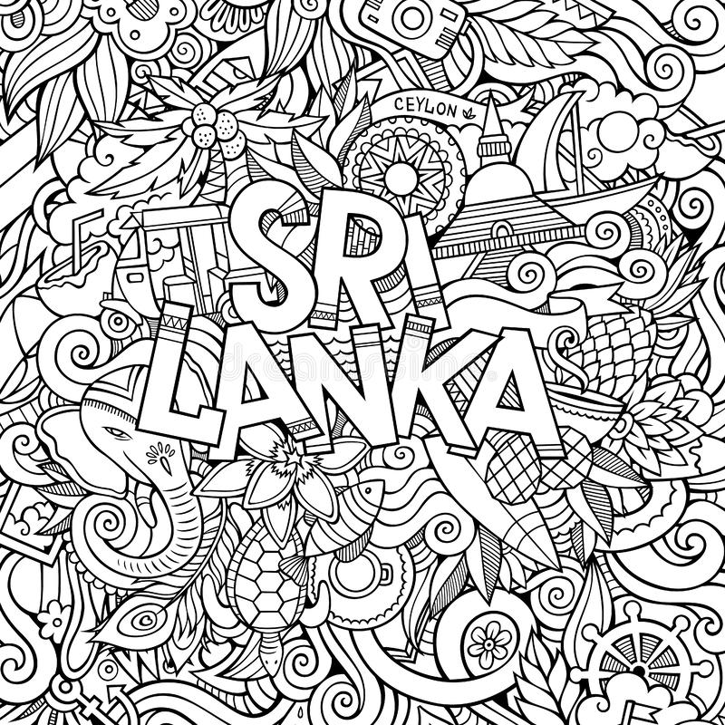 Sri Lanka country hand lettering and doodles elements. And symbols background. Vector hand drawn sketchy illustration royalty free illustration