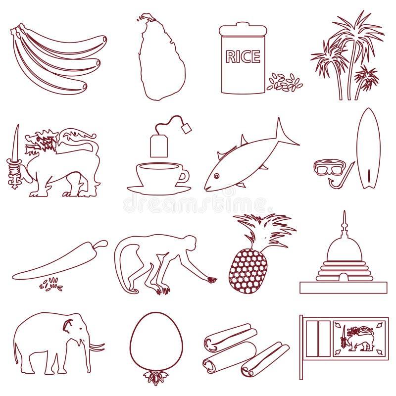 Sri-lanka country symbols outline icons set eps10. Sri-lanka country symbols outline icons set vector illustration