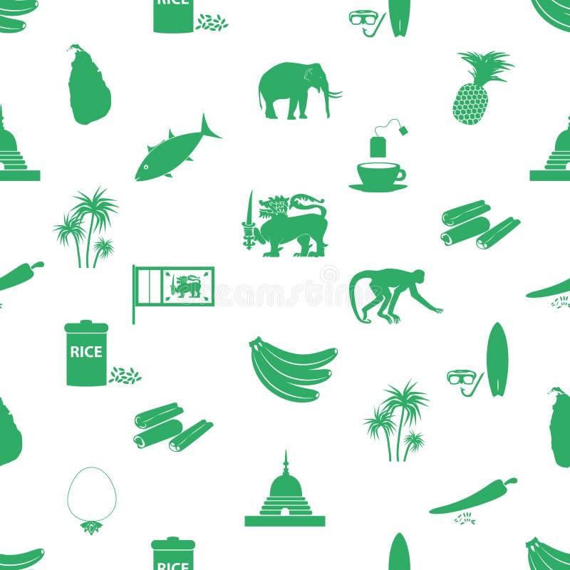 Sri-lanka country symbols seamless green pattern. Eps10 vector illustration