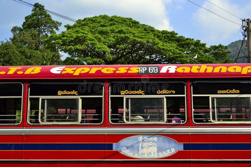 Sri Lanka czerwony autobus na staci zdjęcia stock