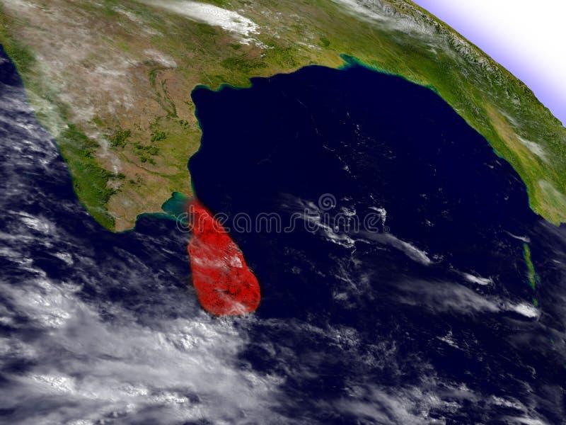 Download Sri Lanka De L'espace Accentué En Rouge Illustration Stock - Illustration du rendez, stratosphère: 77161089