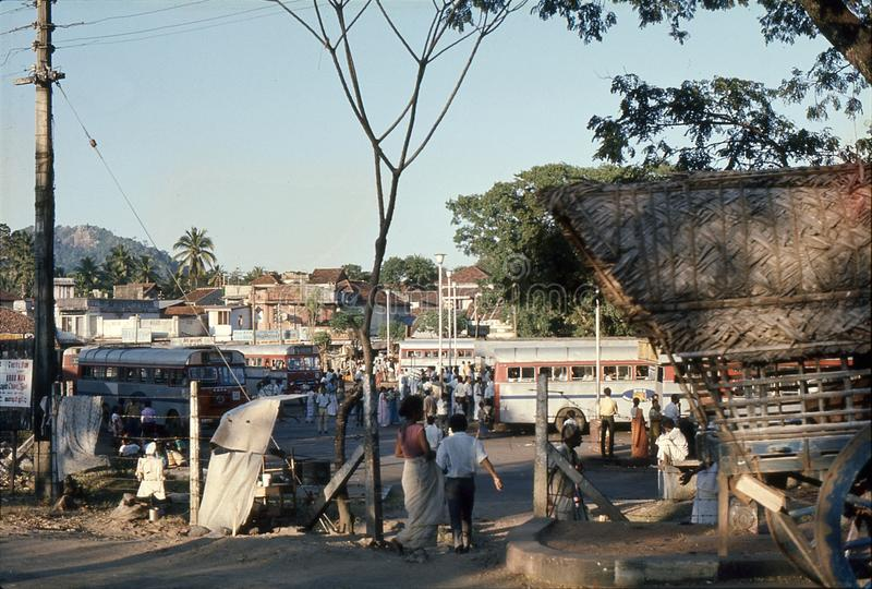 1977 Sri Lanka Estação de ônibus de Dambulla foto de stock