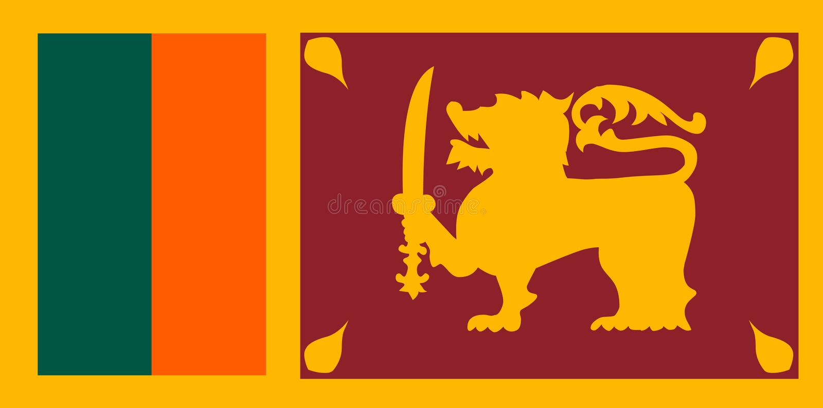 Sri Lanka flag vector. Illustration of Sri Lanka flag. Background stock illustration