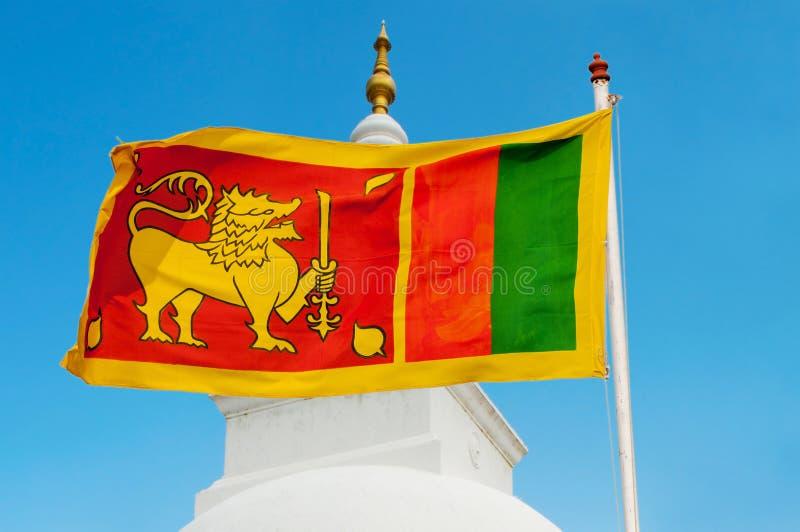 Sri Lanka flagga på flagstaff. arkivbilder