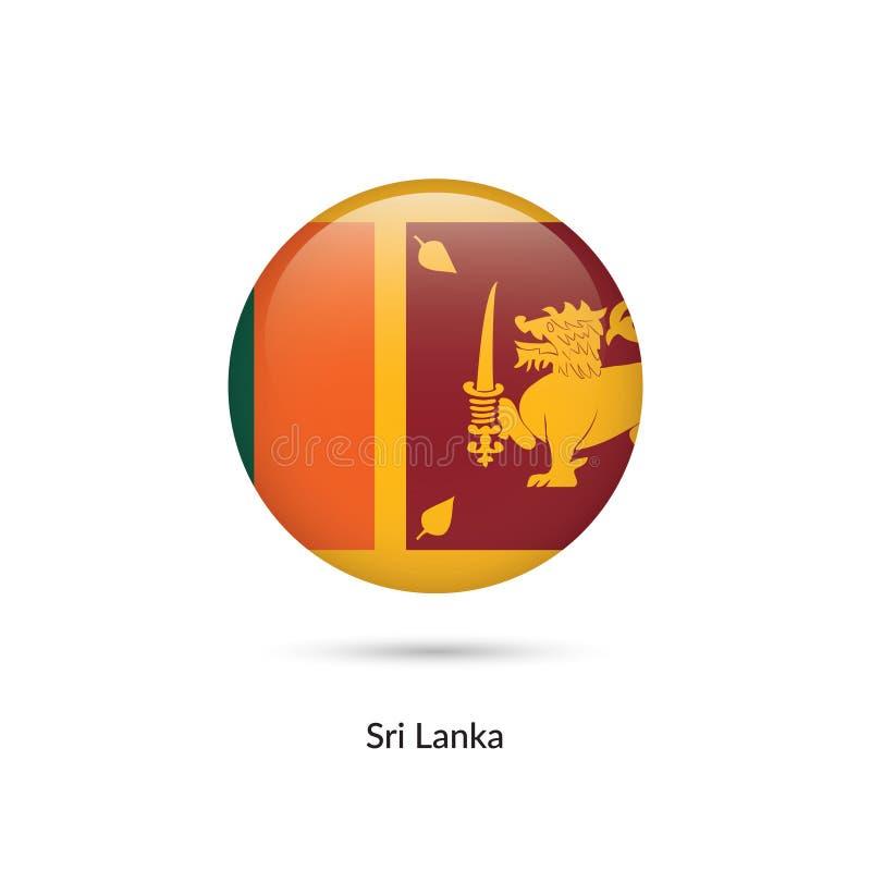 Sri Lanka flagga - rund glansig knapp stock illustrationer
