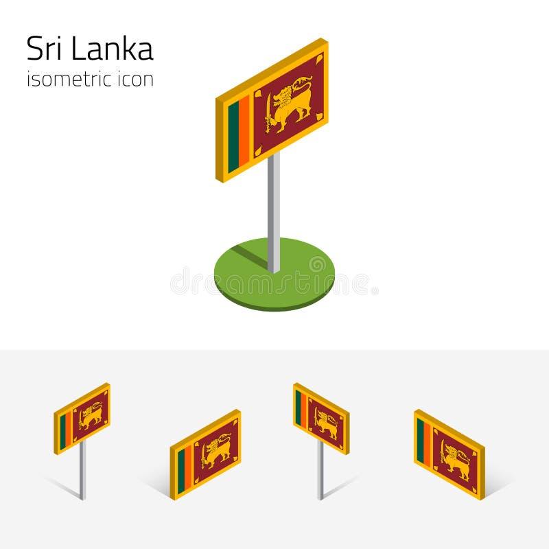 Sri Lanka-Flagge, Vektorsatz von isometrischen flachen Ikonen 3D vektor abbildung
