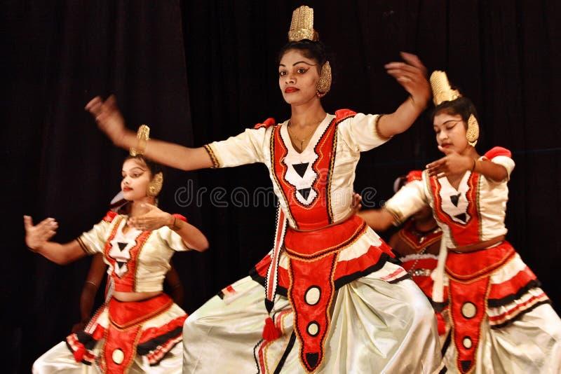 Sri Lanka: Folk dancers in Kandy. Folk dance group performing traditional folk dances in Kandy, centre part of Sri Lanka royalty free stock photos