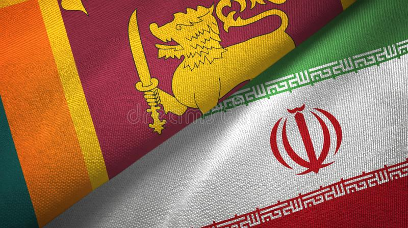 Sri Lanka i Iran dwa flagi tekstylny płótno, tkaniny tekstura ilustracji