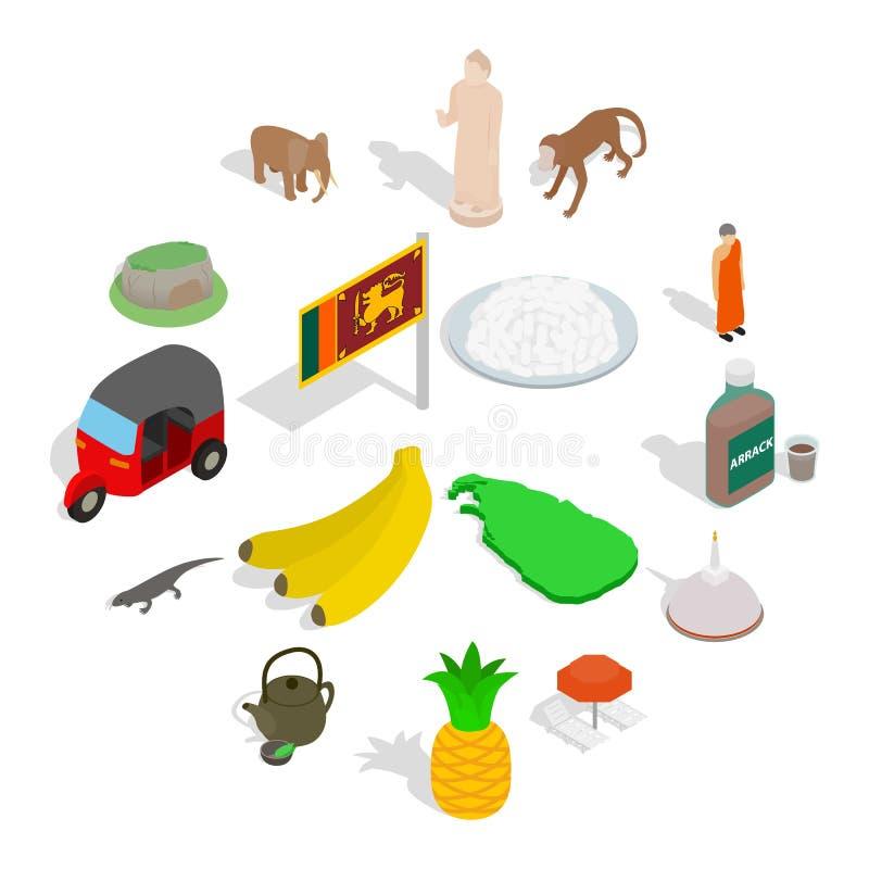 Sri-lanka icons set, isometric 3d style. Sri-lanka icons set in isometric 3d style isolated on white background vector illustration