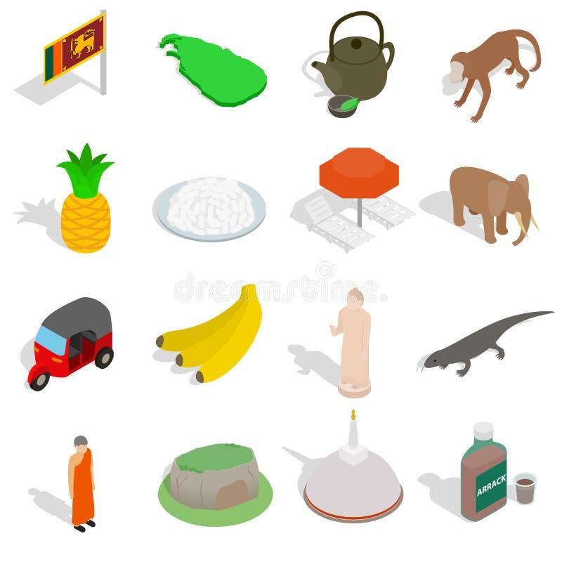 Sri-lanka icons set, isometric 3d style. Sri-lanka icons set in isometric 3d style on white background stock illustration