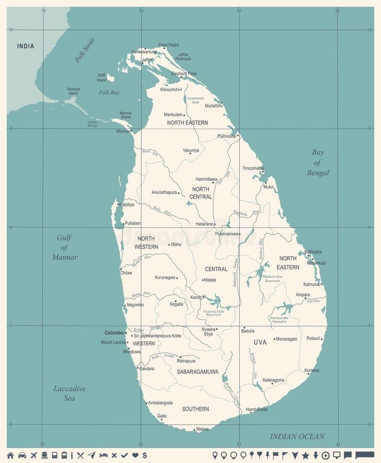 Sri Lanka-Kaart - Wijnoogst Gedetailleerde Vectorillustratie stock illustratie