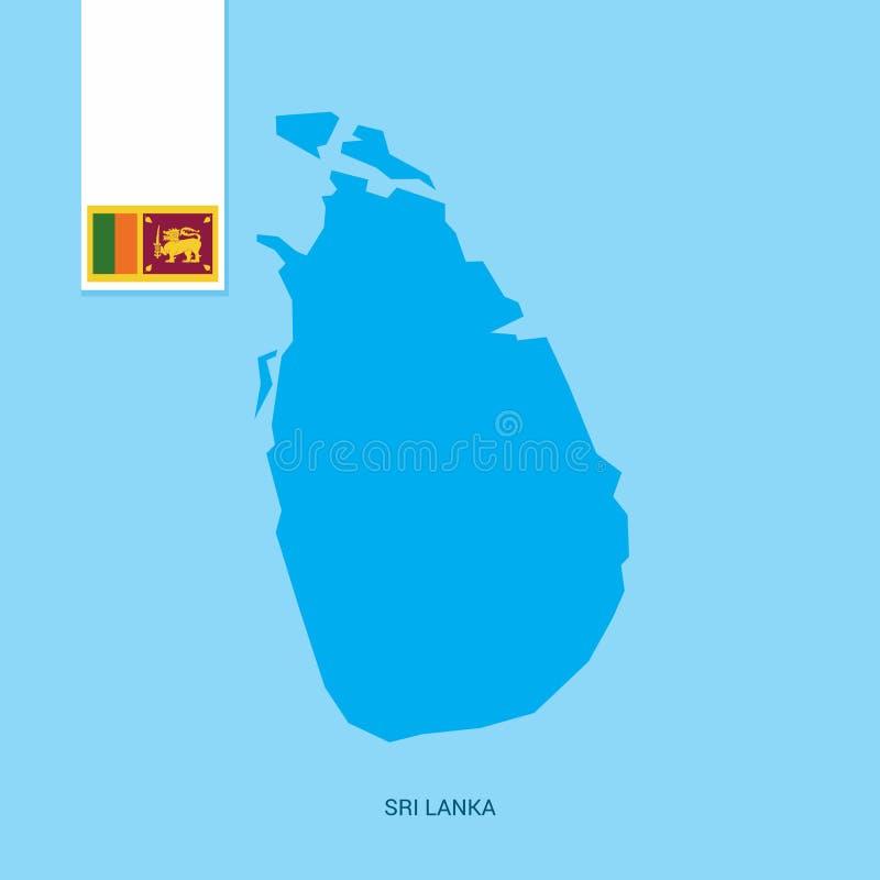 Sri Lanka-Land-Karte mit Flagge über blauem Hintergrund stock abbildung