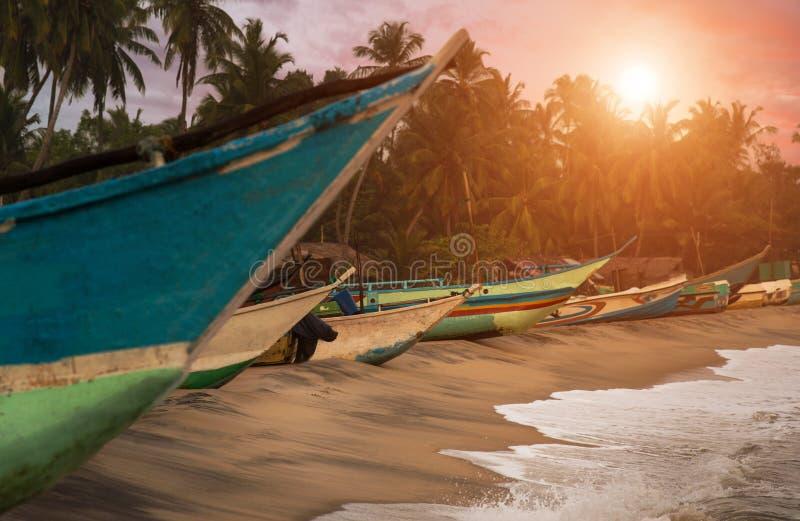Sri Lanka linia brzegowa z łodziami zdjęcia stock