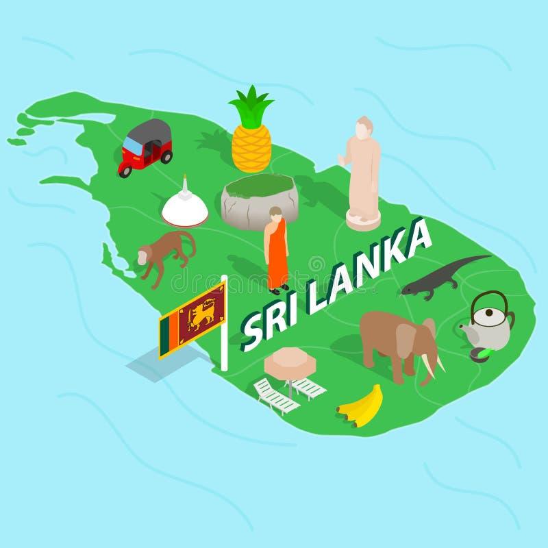 Sri Lanka map concept, isometric 3d style vector illustration
