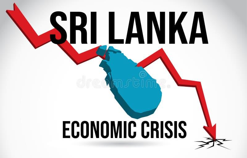 Sri Lanka Map Financial Crisis Economic Collapse Market Crash Global Meltdown Vector. Illustration vector illustration
