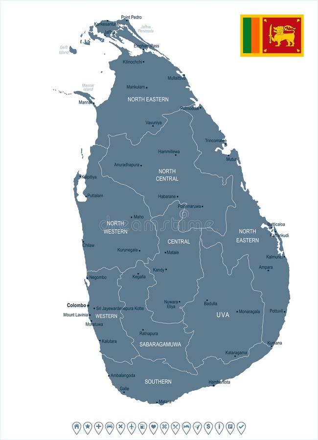 Sri Lanka Map And Flag Detailed Vector Illustration Stock