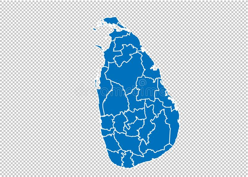 Sri Lanka map - High detailed blue map with counties/regions/states of sri Lanka. sri Lanka map isolated on transparent background royalty free illustration