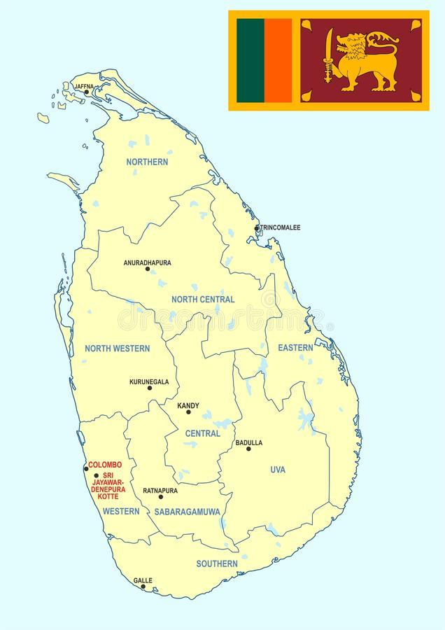Sri Lanka map cdr format stock vector Illustration of central
