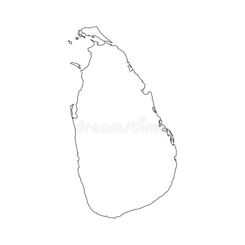 Sri Lanka map vector outline icon isolated on transparent background, high quality linear Sri Lanka map transparency concept can stock illustration