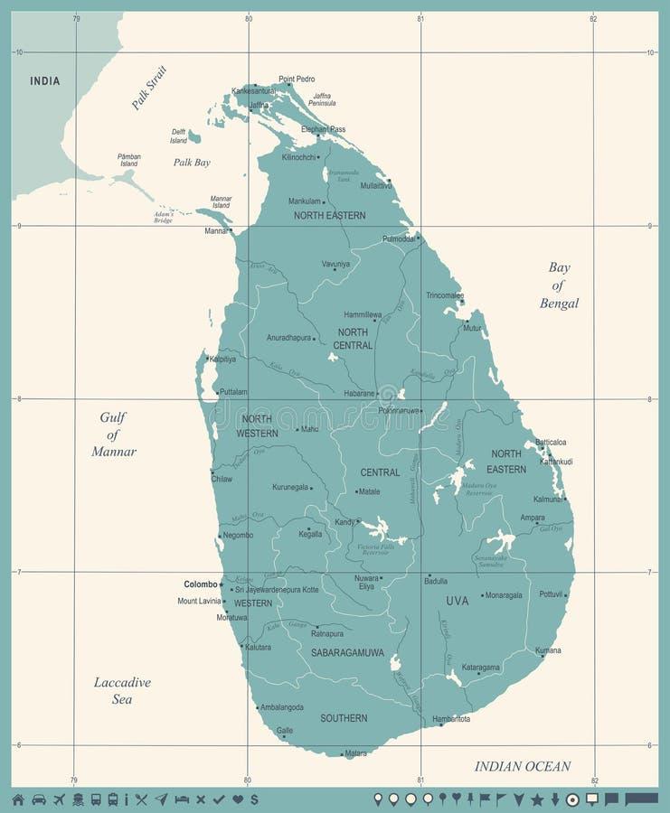 Sri Lanka Map Vintage Detailed Vector Illustration Stock