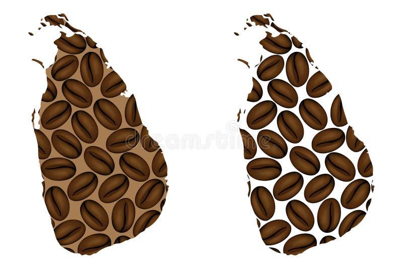 Sri Lanka - mapa do feijão de café ilustração royalty free