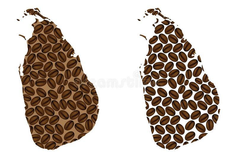 Sri Lanka - mapa do feijão de café ilustração stock