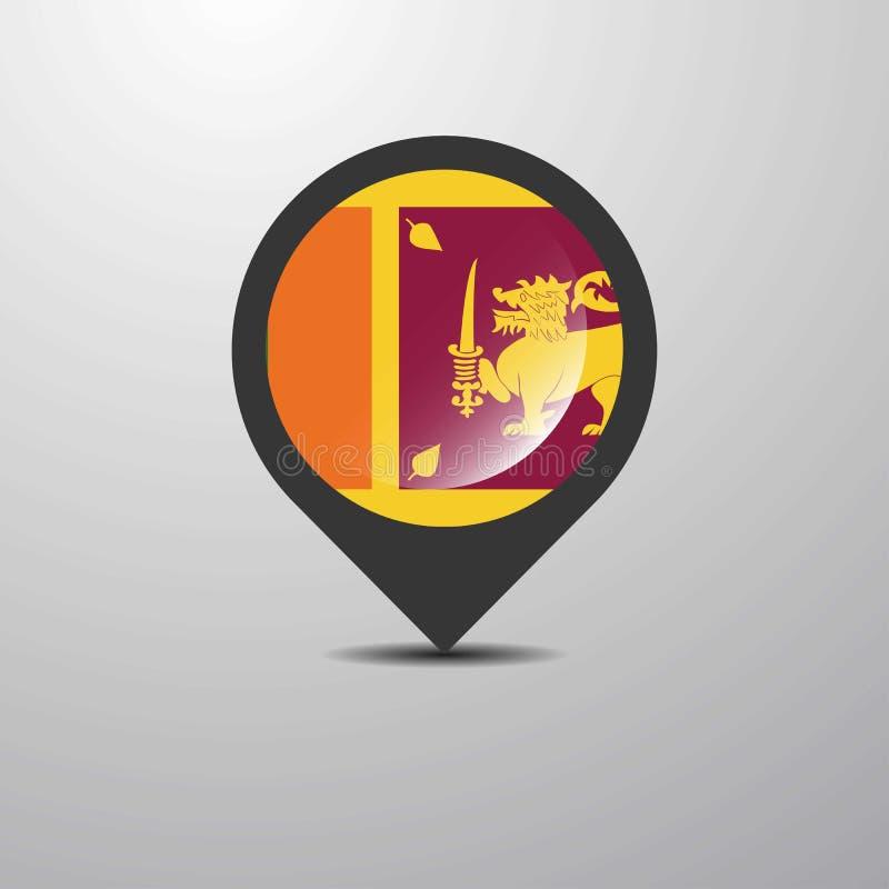 Sri Lanka mapy szpilka ilustracja wektor