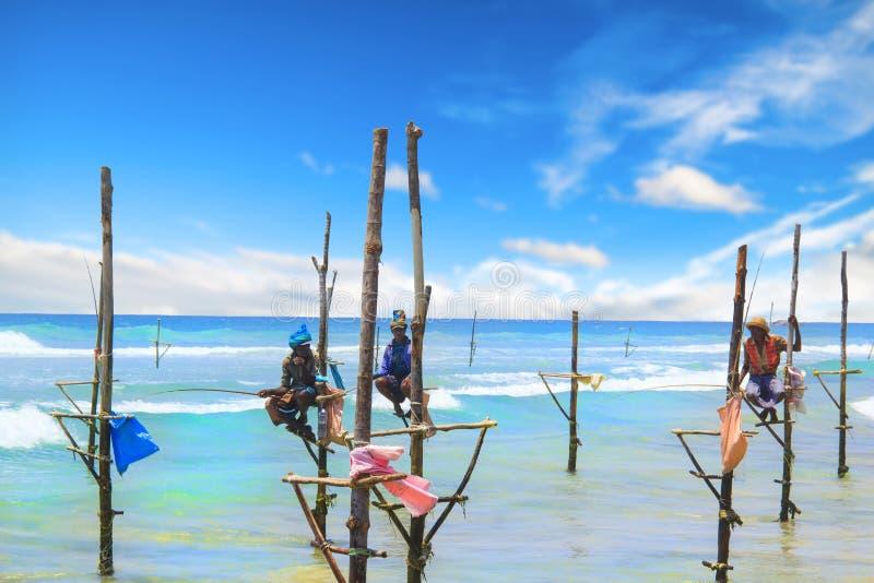 SRI LANKA - MARCH 24: Traditional fishing - Fishermen on a stick in Sri Lanka on march 24 2017 on Sri Lanka. On a sunny day royalty free stock images