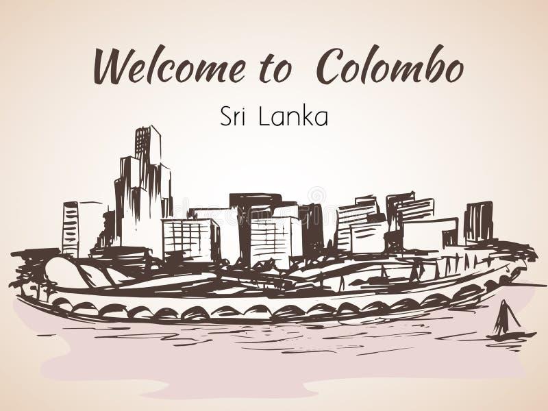 Sri Lanka, Modern Colombo city view stock illustration