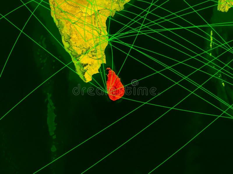Sri Lanka no mapa digital ilustração royalty free