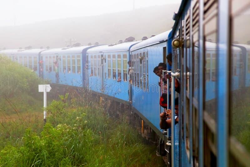 Sri Lanka, Nuwara Eliya - October 2015: People traveling by train in the mountains of Sri Lanka. Surroundings Nuwara Eliya stock image