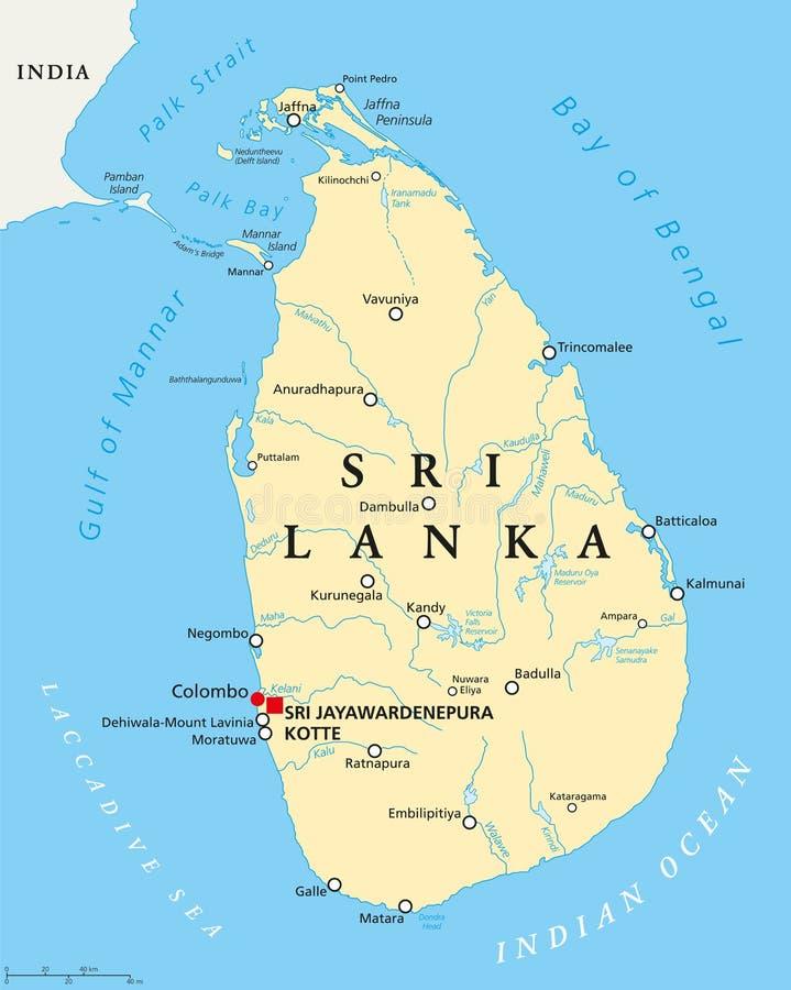 Sri Lanka Political Map stock vector Illustration of mount 74003457