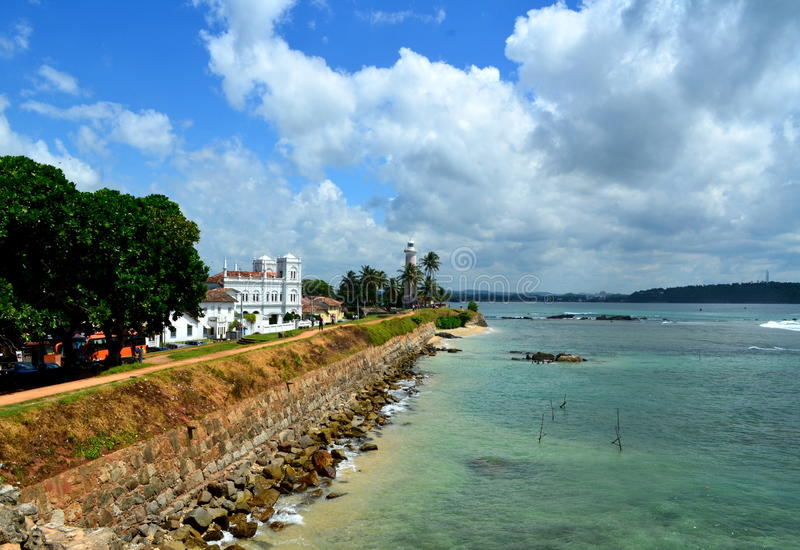 Sri Lanka ramparts, morze, meczet i latarnia morska, obrazy stock