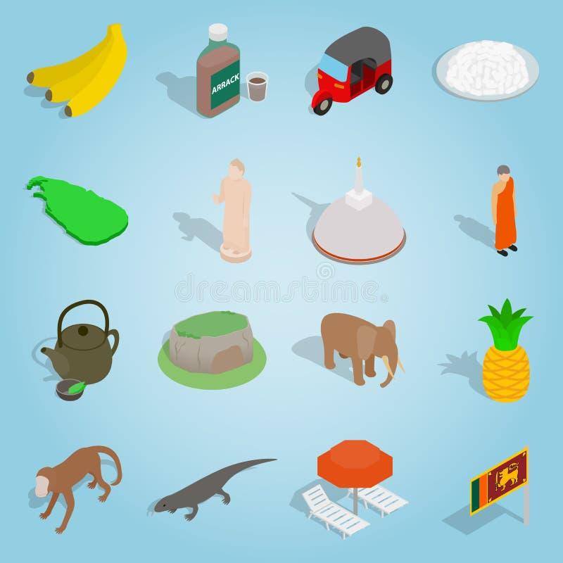 Sri-lanka set icons, isometric 3d style. Isometric sri-lanka icons set. Universal sri-lanka icons to use for web and mobile UI, set of basic sri-lanka elements royalty free illustration