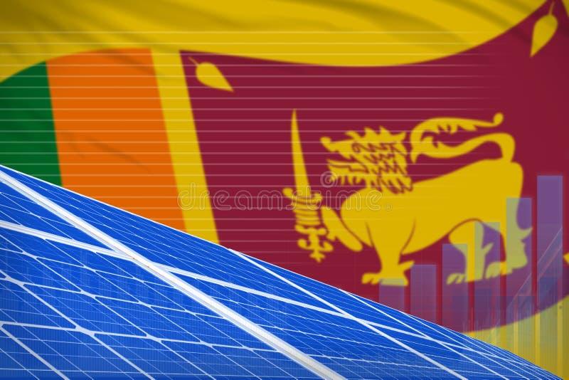 Sri Lanka solar energy power digital graph concept - alternative natural energy industrial illustration. 3D Illustration vector illustration