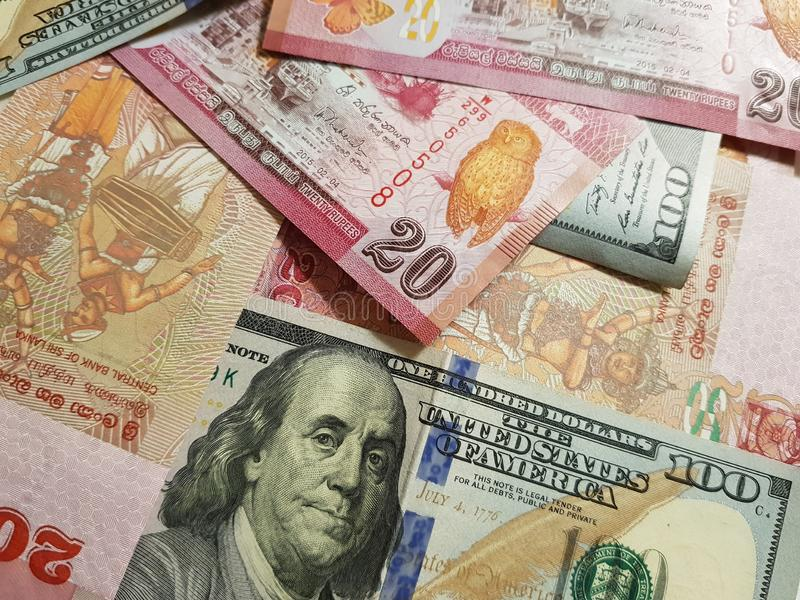 Sri Lanka and the United States Join in the trade and economy, banknotes Use it as a Forex or Financial.  stock images