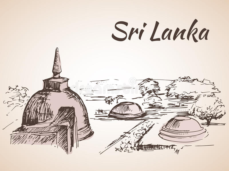 Sri Lanka - varios stupas cerca del lago libre illustration
