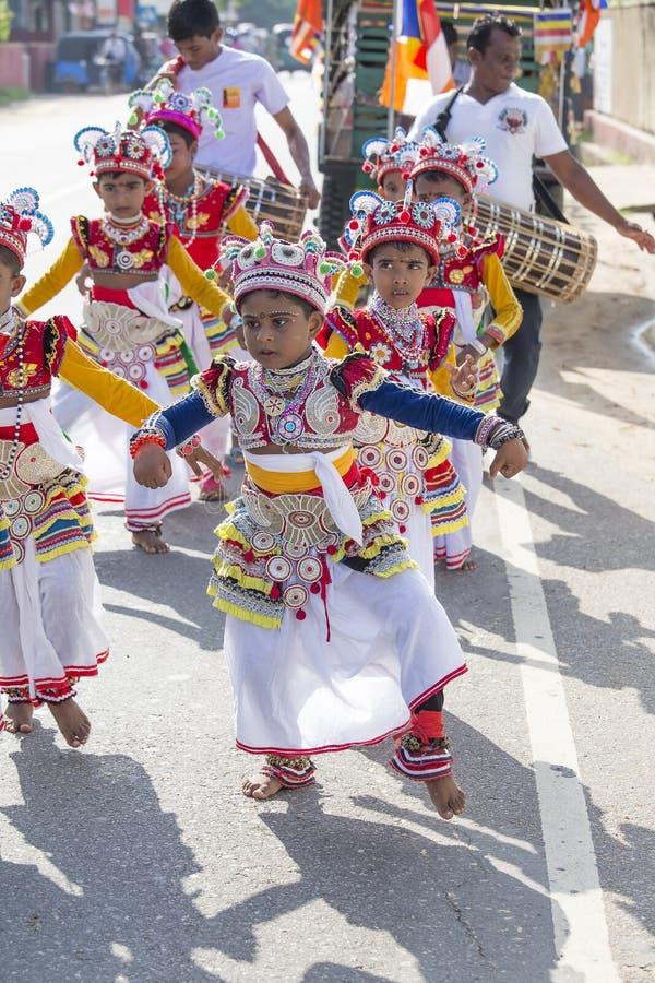 Sri Lankan children involved in the Katina festival . Mirissa, Sri Lanka stock images