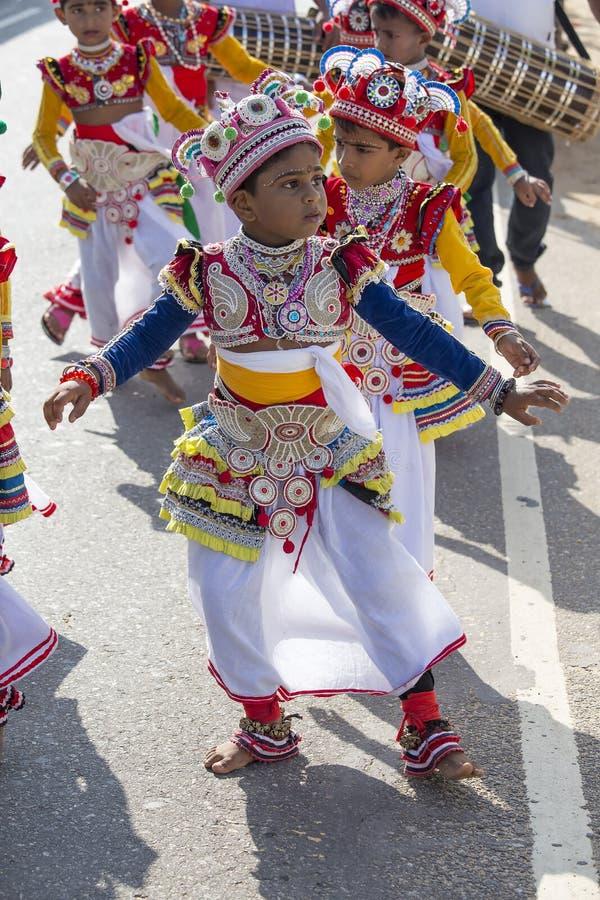 Sri Lankan children involved in the Katina festival . Mirissa, Sri Lanka royalty free stock photo