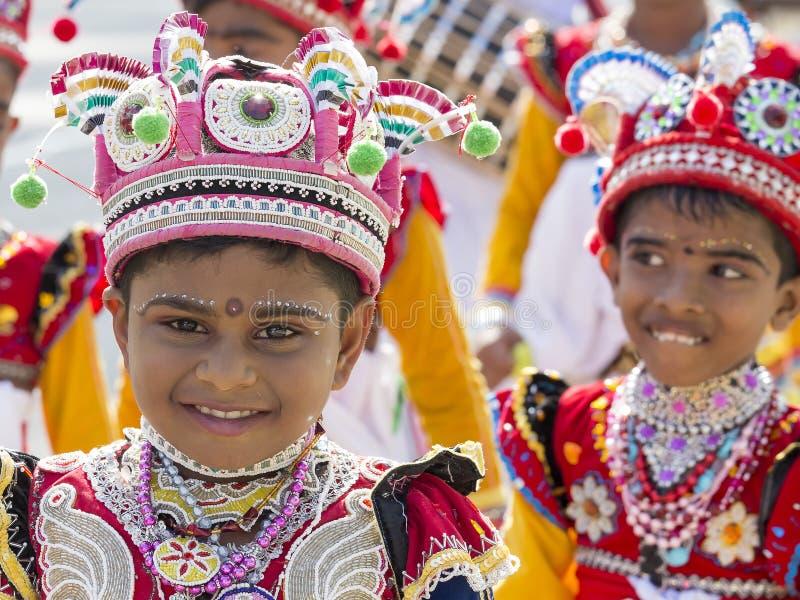 Sri Lankan children involved in the Katina festival . Mirissa, Sri Lanka stock photo